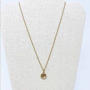 STELLA & DOT Dainty Gold Necklace Glitter Charm